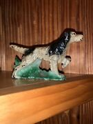 Hubley Cast Iron Hunting Dog Setter Retriever Pointer Bookend Paperweight
