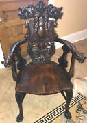 Antique Oak Attr Horner Griffin Arm Chair Duck Arms Claw Feet Carved Nice