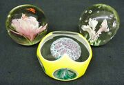 Set 3 Art Glass Paperweights Murano Italy Floral Bubbles Insects Multi-sided