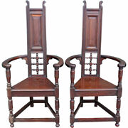 Pair English Liberty And Co. Arts And Crafts Mahogany Shakespeare Chairs C. 1900