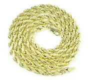Real 10k Yellow Gold Mens Womens 4mm Solid Rope Chain Necklace 18-24