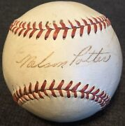 Rare Nelson Nels Potter Died 1990 Psa/dna Signed Baseball 1940andrsquos Browns Braves