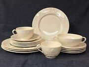 1940and039s Lenox Pagoda Pattern White/ivory 16 Pcs Early Green Mark Made In Usa