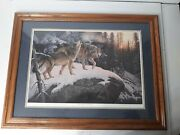 Large Limited Edition Signed Call Of The Wild Wolves Wolf Hayden Lambson Framed