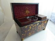 Impressive Large Faux Tortoiseshell Two Compartment Tea Caddy With Glass Liner