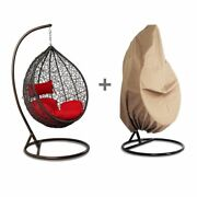 Outdoor Wicker Hanging Hammock W/stand Proch Swing Chair Red Cushion Free Cover
