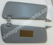 Pair Of New Sun Visors Fits Mercedes Sl W107 Grey With Mirror And Clips