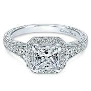 Gabriel And Co Vintage 14k White Gold Princess Cut Halo Semi Mount Engagement Ring