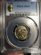 1916 Buffalo Nickel Pcgs Ms 65. No Dings Spots Or Scratches. Nice Toning.
