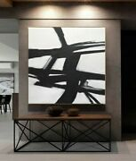 48 X 48 Black And White Art Minimalist Large Abstract Art Painting - L. Beiboer