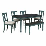 Bowery Hill 6 Piece Dining Set In Teal Blue