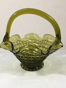 """Antique Vintage Green Glass Candy Dishes Shaped Like Basket 6"""""""