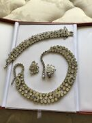 3pc. Rare Crystal 1950's Necklace Suite-necklace, Bracelet And Earrings