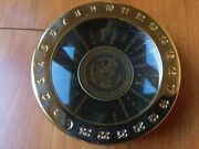 Cia Challenge Coin Case World Time Zone Clock Paperweight Magnifier Desk Metal