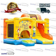 11.5x11.5ft Inflatable Birthday Bounce House And Slide Castle With Air Blower