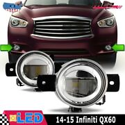 Fits 14-15 Infiniti Qx60 Clear Lens Pair Led Fog Light Lamps Oe Replacement Dot