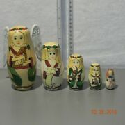 Old Vintage Russian Nesting Dolls Angels Hand Painted Set Of 5