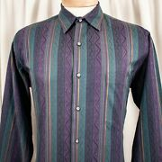 Saks Fifth Avenue Rustic Green With Purple Blue And Gold Stripe Men Casual Shirt