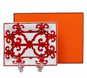 Hermes Porcelain Change Tray Guadalquivir Red Ashtray Plate Ornament Auth New