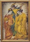 Signed Dior Vagas Monumental 60and039s Shogun And Geisha Batic On Rice Paper Painting
