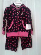 Juicy Couture Baby Girls Heart Velour Jog Set 2 Pc. Set 3-6 Mos Nwt