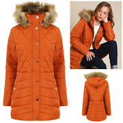 Tokyo Laundry Womens Rigel Longline Jacket Quilted Coat With Faux Fur Trim Hood