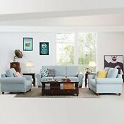 4pcs Sectional Sofa Set Living Room Linen Fabric Sofa Couch 3 Seater/ Loveseat/