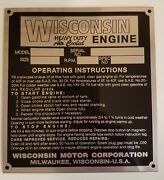 Wisconsin Engine Id Plate - Brand New / Antique Vintage Garden Tractor Tag Aenl
