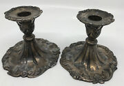 2 Pc. Heavy Silver-plate Candlesticks Candle Holders 4.5 Lead Antimony 1633 S N