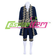 Colonial Victorian Mens Blue Outfit Cosplay Costume 18th Menand039s Rococo Court Suit