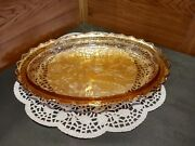 Vintage Un-marked Amber/marigold Carnival Glass Dish/tray