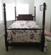 Antique Four Poster Bed Frame 1930s Flint And Horner Mahogany Pineapples