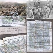 Wwi French Trench Map Secret Verdun Argonne Meuse Aef Soldier Named Ww1 Relic