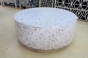 Indian Handmade Mother Of Pearl Round Coffee Table Flower Design