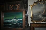 Beautiful Large Vintage Painting Of Uss Submarine Bowfin S.s.287