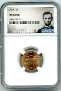2014 P Us Mint Cent Union Shield Ngc Ms66 Rd Lincoln Label High Grade Penny Obo