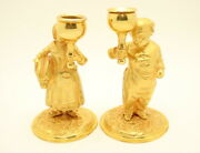 Pair Of Late 19th C. Russian Gilt Bronze Figural Candle Holders Candlesticks