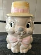 Vintage Sweet Kitty Cat Cookie Jar Straw Hat Pink Bows Ceramic Meow Pets 1960s