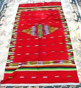 Antique Saltillo Blanket Rug Mexican Large Red C.1940's Vibrant Colors