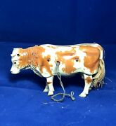 Vintage Walking Cattle/steer/cow Tin Wind Up Toy Made In Us-zone Germany