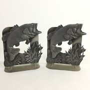 Vtg 1980 Metzke Pewter Large Mouth Bass Bookends Pair Made In Usa Fish Art Deco