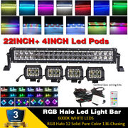 22 Inch Led Light Bar Comboe + 4 Pods W/ Rgb Halo Chasing Change Remote Control