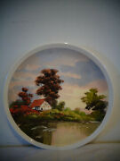 Cape Cod Mass Artist Ruth Waite Oil Painting Plate House On Water Scene Signed