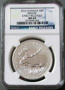 2012 Silver Canada 5 Moose 1 Oz Coin Mint State 69 Early Releases
