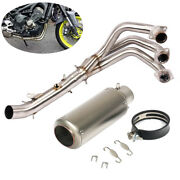 Full Exhaust System Muffler Tips Front Link Pipe Slip Fit For Yamaha Mt09 Fz09