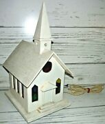 Large Vintage Lighted Christmas Wood Church W/ Stained Glass Plastic Windows