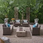 Morena Outdoor 8-seater Wicker Print Chat Set With Fire Pit And Tank Holder