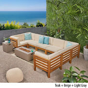 Ravello Outdoor U-shaped Sectional Sofa Set With Fire Pit