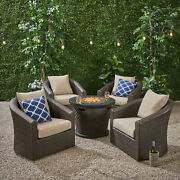 Liyam Outdoor 4 Piece Wicker Swivel Chair Set With Fire Pit Multi Brown And Bro