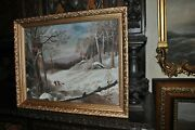 Oil Painting On Board Winter Scene Framed Art Children Playing In The Snow